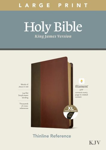 KJV Large Print Thinline Reference Bible, Filament Enabled Edition (Red Letter, LeatherLike, Brown/Mahogany, Indexed) - LeatherLike Brown/Mahogany/Multicolor With thumb index and ribbon marker(s)
