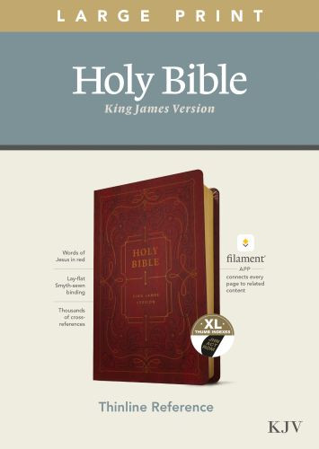 KJV Large Print Thinline Reference Bible, Filament Enabled Edition (Red Letter, LeatherLike, Ornate Burgundy, Indexed) - LeatherLike Ornate Burgundy With thumb index and ribbon marker(s)
