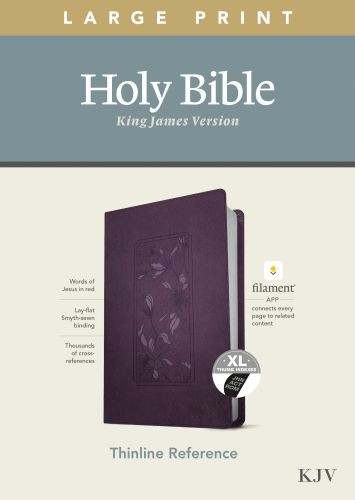 KJV Large Print Thinline Reference Bible, Filament Enabled Edition (Red Letter, LeatherLike, Floral Frame Purple, Indexed) - LeatherLike Floral Frame Purple With thumb index and ribbon marker(s)