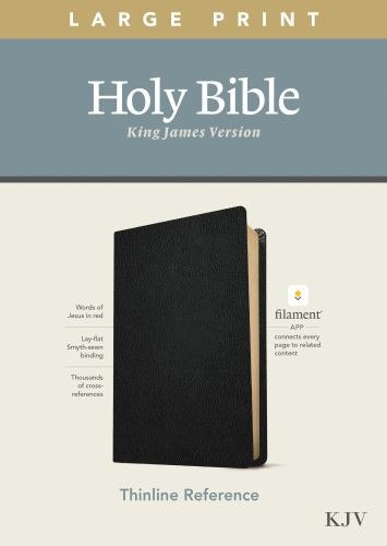 KJV Large Print Thinline Reference Bible, Filament Enabled Edition (Red Letter, Genuine Leather, Black) - Genuine Leather Black With ribbon marker(s)