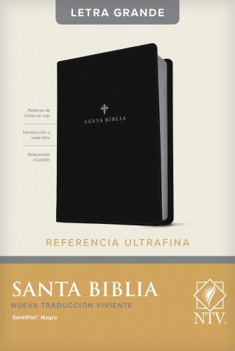 Santa Biblia NTV, Edición de referencia ultrafina, letra grande (SentiPiel, Negro, Índice) - LeatherLike Black With thumb index and ribbon marker(s)