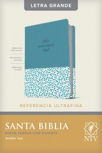 Santa Biblia NTV, Edición de referencia ultrafina, letra grande (SentiPiel, Azul, Índice) - LeatherLike Blue With thumb index and ribbon marker(s)