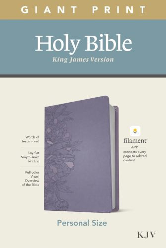 KJV Personal Size Giant Print Bible, Filament Enabled Edition (Red Letter, LeatherLike, Peony Lavender) - LeatherLike Peony Lavender With ribbon marker(s)
