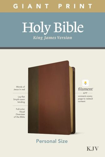 KJV Personal Size Giant Print Bible, Filament Enabled Edition (Red Letter, LeatherLike, Brown/Mahogany) - LeatherLike Brown/Mahogany/Multicolor With ribbon marker(s)