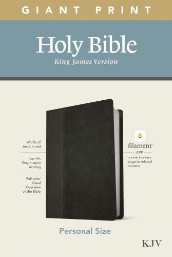 KJV Personal Size Giant Print Bible, Filament Enabled Edition (Red Letter, LeatherLike, Black/Onyx) - LeatherLike Black/Onyx/Multicolor With ribbon marker(s)