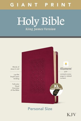 KJV Personal Size Giant Print Bible, Filament Enabled Edition (Red Letter, LeatherLike, Diamond Frame Cranberry, Indexed) - LeatherLike Diamond Frame Cranberry With thumb index and ribbon marker(s)