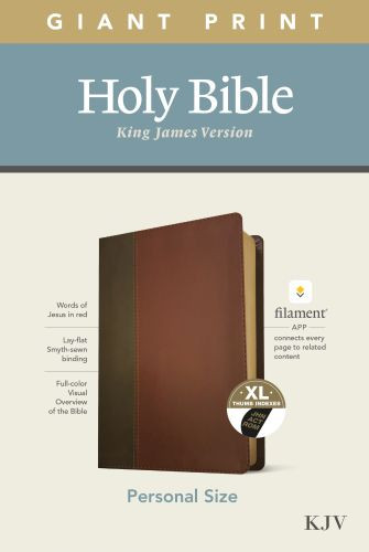 KJV Personal Size Giant Print Bible, Filament Enabled Edition (Red Letter, LeatherLike, Brown/Mahogany, Indexed) - LeatherLike Brown/Mahogany/Multicolor With thumb index and ribbon marker(s)