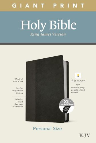 KJV Personal Size Giant Print Bible, Filament Enabled Edition (Red Letter, LeatherLike, Black/Onyx, Indexed) - LeatherLike Black/Onyx/Multicolor With thumb index and ribbon marker(s)