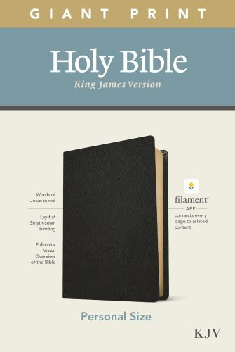 KJV Personal Size Giant Print Bible, Filament Enabled Edition (Red Letter, Genuine Leather, Black) - Genuine Leather Black With ribbon marker(s)