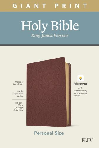 KJV Personal Size Giant Print Bible, Filament Enabled Edition (Red Letter, Genuine Leather, Burgundy) - Genuine Leather Burgundy With ribbon marker(s)