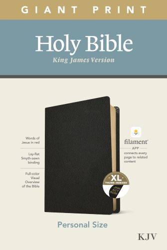 KJV Personal Size Giant Print Bible, Filament Enabled Edition (Red Letter, Genuine Leather, Black, Indexed) - Genuine Leather Black With thumb index and ribbon marker(s)