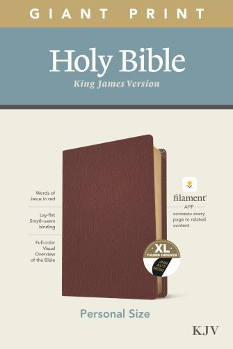 KJV Personal Size Giant Print Bible, Filament Enabled Edition (Red Letter, Genuine Leather, Burgundy, Indexed) - Genuine Leather Burgundy With thumb index and ribbon marker(s)