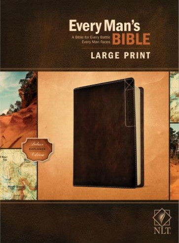 Every Man's Bible NLT, Large Print, Deluxe Explorer Edition (LeatherLike, Rustic Brown) - LeatherLike Rustic Brown With ribbon marker(s)