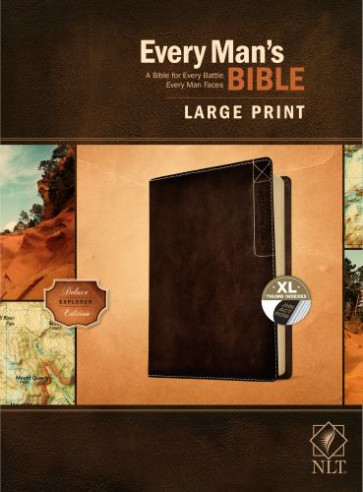 Every Man's Bible NLT, Large Print, Deluxe Explorer Edition (LeatherLike, Rustic Brown, Indexed) - LeatherLike Rustic Brown With thumb index and ribbon marker(s)