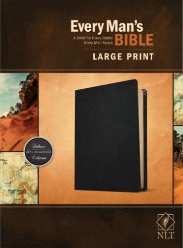 Every Man's Bible NLT, Large Print (Genuine Leather, Black) - Genuine Leather Black With ribbon marker(s)