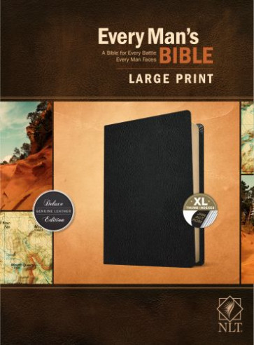 Every Man's Bible NLT, Large Print (Genuine Leather, Black, Indexed) - Genuine Leather Black With thumb index and ribbon marker(s)