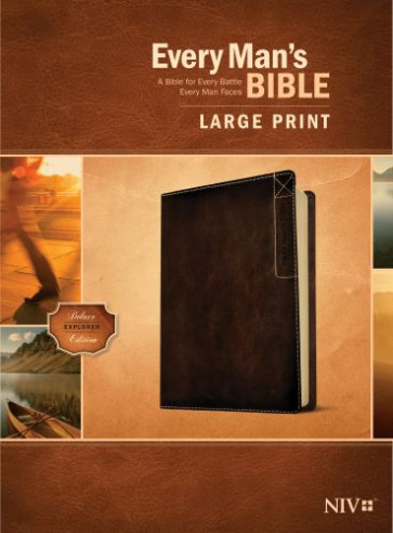 Every Man's Bible NIV, Large Print, Deluxe Explorer Edition (LeatherLike, Rustic Brown) - LeatherLike Rustic Brown With ribbon marker(s)