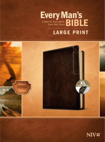 Every Man's Bible NIV, Large Print, Deluxe Explorer Edition (LeatherLike, Rustic Brown, Indexed) - LeatherLike Rustic Brown With thumb index and ribbon marker(s)