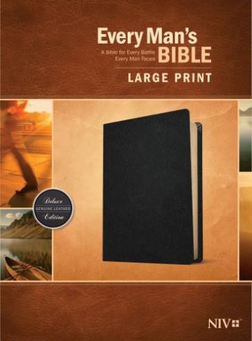 Every Man's Bible NIV, Large Print (Genuine Leather, Black) - Genuine Leather Black With ribbon marker(s)