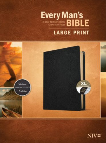 Every Man's Bible NIV, Large Print (Genuine Leather, Black, Indexed) - Genuine Leather Black With thumb index and ribbon marker(s)