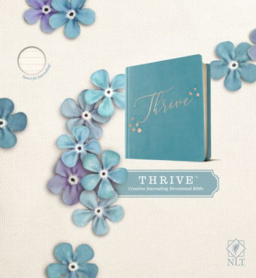 NLT THRIVE Creative Journaling Devotional Bible (Hardcover LeatherLike, Teal Blue with Rose Gold) - Hardcover Teal Blue with Rose Gold With ribbon marker(s) Wide margin
