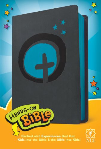 Hands-On Bible NLT (LeatherLike, Dark Gray/Blue Cross) - Leather / fine binding Dark Gray/Blue Cross With ribbon marker(s)