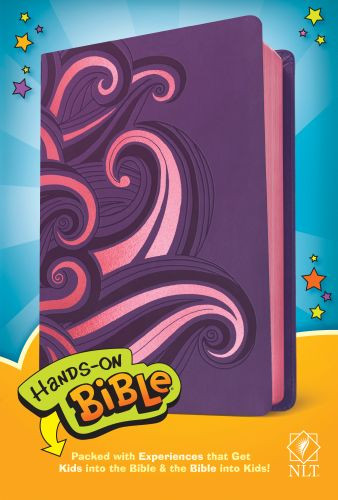 Hands-On Bible NLT (LeatherLike, Purple/Pink Swirls) - Leather / fine binding Purple/Pink Swirls