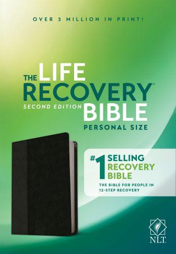 NLT Life Recovery Bible, Second Edition, Personal Size (LeatherLike, Black/Onyx) - LeatherLike Black/Onyx With ribbon marker(s)