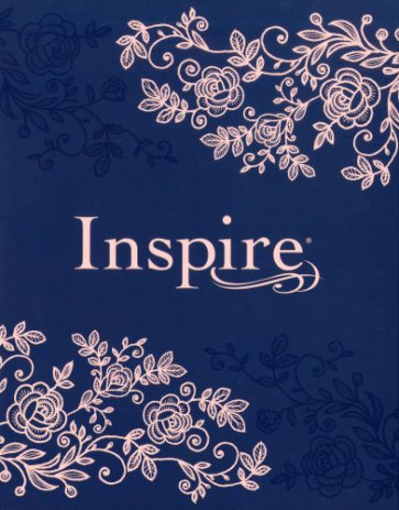 Inspire Bible NLT (Hardcover LeatherLike, Navy) - Hardcover Navy With ribbon marker(s) Wide margin