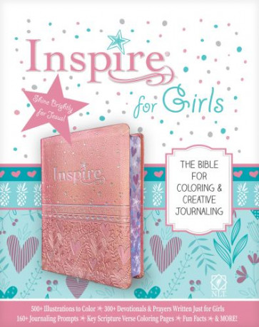 Inspire Bible for Girls NLT (LeatherLike, Pink) - Sewn Pink Imitation Leather With ribbon marker(s)