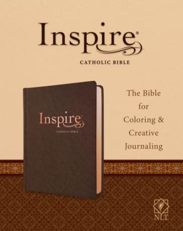 Inspire Catholic Bible NLT  (LeatherLike, Dark Brown) - Sewn Dark Brown Imitation Leather With ribbon marker(s)