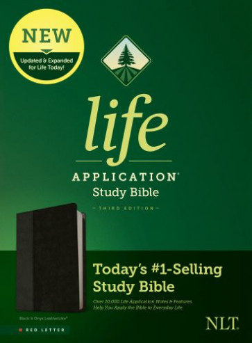 NLT Life Application Study Bible, Third Edition (Red Letter, LeatherLike, Black/Onyx) - LeatherLike Black/Onyx With ribbon marker(s)
