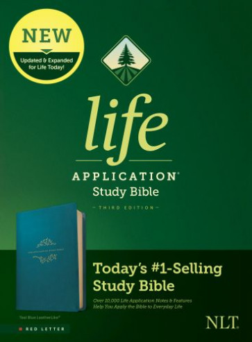 NLT Life Application Study Bible, Third Edition (Red Letter, LeatherLike, Teal Blue) - LeatherLike Teal Blue With ribbon marker(s)