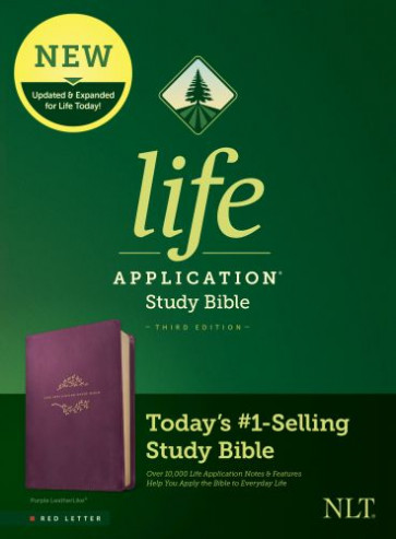 NLT Life Application Study Bible, Third Edition (Red Letter, LeatherLike, Purple) - LeatherLike Purple With ribbon marker(s)