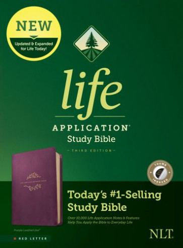 NLT Life Application Study Bible, Third Edition (Red Letter, LeatherLike, Purple, Indexed) - LeatherLike Purple With thumb index and ribbon marker(s)