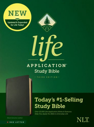 NLT Life Application Study Bible, Third Edition (Red Letter, Genuine Leather, Black) - Genuine Leather Black With ribbon marker(s)