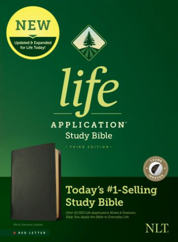 NLT Life Application Study Bible, Third Edition (Red Letter, Genuine Leather, Black, Indexed) - Genuine Leather Black With thumb index and ribbon marker(s)