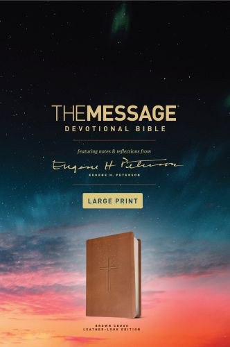The Message Devotional Bible, Large Print (Leather-Look, Brown) - Leather-Look Brown