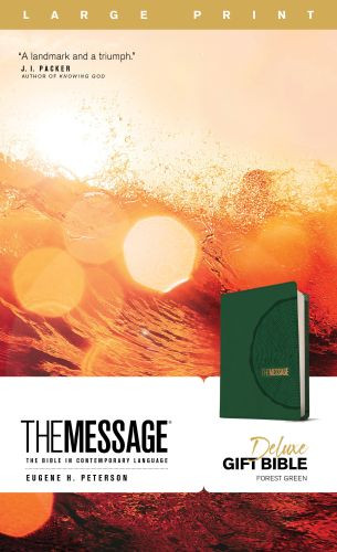 The Message Deluxe Gift Bible, Large Print (Leather-Look, Green) - Leather-Look Green With ribbon marker(s)