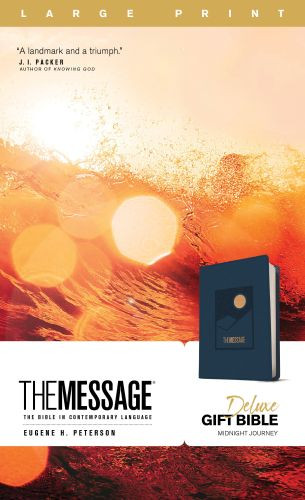 The Message Deluxe Gift Bible, Large Print (Leather-Look, Navy) - Leather-Look Navy With ribbon marker(s)