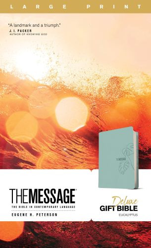 The Message Deluxe Gift Bible, Large Print (Leather-Look, Teal) - Leather-Look Teal With ribbon marker(s)