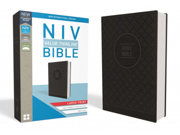 NIV, Value Thinline Bible, Large Print, Leathersoft, Gray/Black, Comfort Print - Imitation Leather