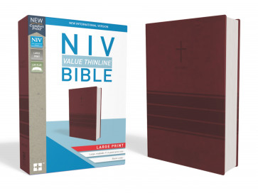 NIV, Value Thinline Bible, Large Print, Leathersoft, Burgundy, Comfort Print - Imitation Leather