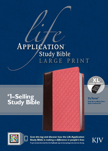 Life Application Study Bible KJV, Large Print TuTone - LeatherLike  Black/Vintage Ivory Floral TuTone Black With thumb index