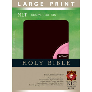 Compact Edition Bible NLT, Large Print, TuTone - LeatherLike Brown/Multicolor/Pink With ribbon marker(s)