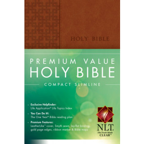 Premium Value Compact Slimline Bible NLT - LeatherLike Brown With ribbon marker(s)