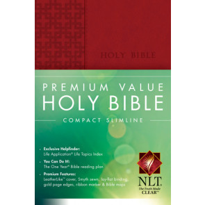 Premium Value Compact Slimline Bible NLT - LeatherLike Brick Red Red With ribbon marker(s)