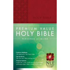 Premium Value Personal Slimline Bible NLT - LeatherLike Red With ribbon marker(s)