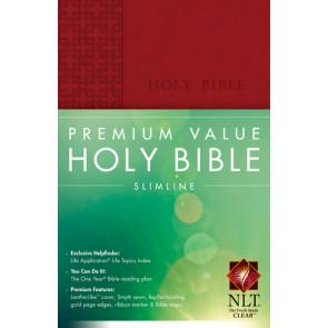 Premium Value Slimline Bible NLT - LeatherLike Red With ribbon marker(s)