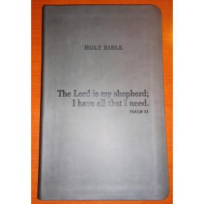 Premium Slimline Bible NLT,  Psalm 23 - LeatherLike Charcoal With ribbon marker(s)